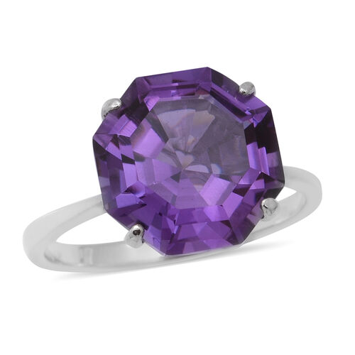 OCTILLION CUT Lusaka Amethyst Solitaire Ring in Rhodium Overlay Sterling Silver 6.64 Ct.