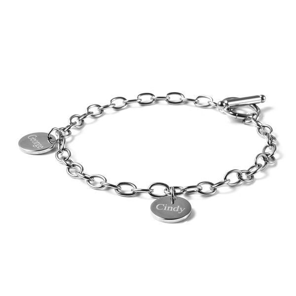 Personalised Engravable 2 Disc Charm Bracelet, in Stainless Steel 8.5inches