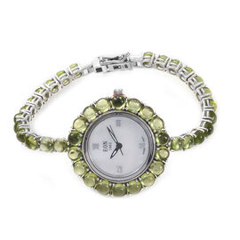 EON 1962 Hebei Peridot (25.25 Ct) Bracelet Watch (Size 7) in Platinum Overlay Sterling Silver, Silve