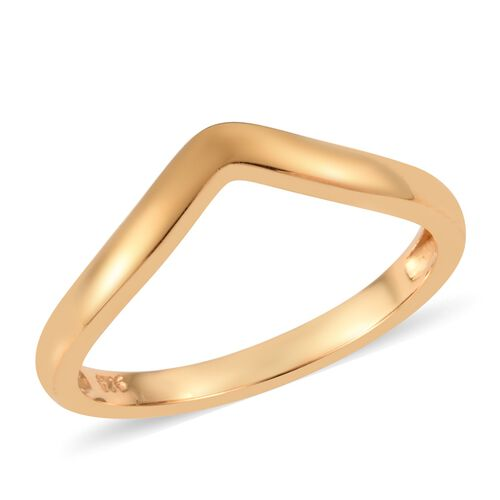 Wishbone V Shape Stacker Silver Ring in Gold Overlay, Silver wt 1.54 gms