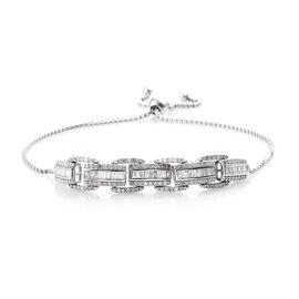 1.51 Ct Diamond Adjustable Bolo Bracelet in Platinum Plated Sterling Silver 6.2 Grams