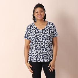 JOVIE 100% Cotton Stripe Pattern Short Sleeved Top - Navy