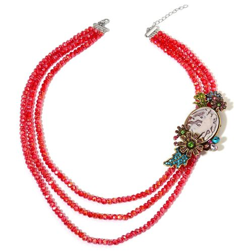 Cameo, Multi Colour Austrian Crystal, Simulated Multi Colour Diamond and Red Colour Beads Brooch or Necklace (Size 20) in Silver and Gold Tone 332.000 Ct.