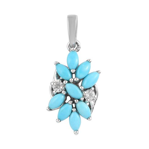 Arizona Sleeping Beauty Turquoise and Natural Cambodian Zircon Floral Pendant in Platinum Overlay St
