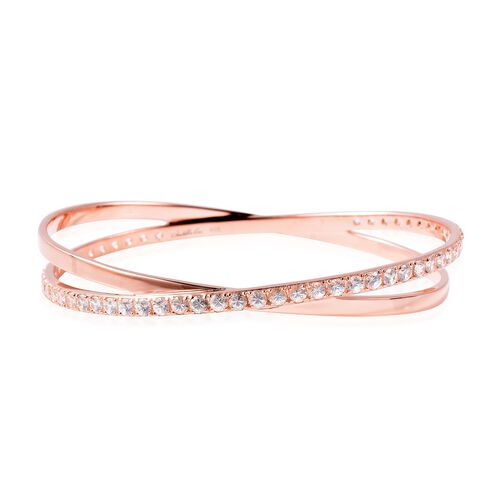 Isabella Liu Collection - Natural White Cambodian Zircon (Rnd) Bangle (Size 8) in Rose Gold Overlay