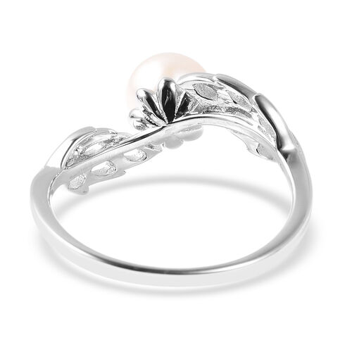 RACHEL GALLEY Freshwater White Pearl (Rnd) Lattice Feather Ring in Rhodium Overlay Sterling Silver