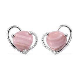 Australian Pink Opal Heart Earrings (with Push Back) in Sterling Silver 4.000 Ct.