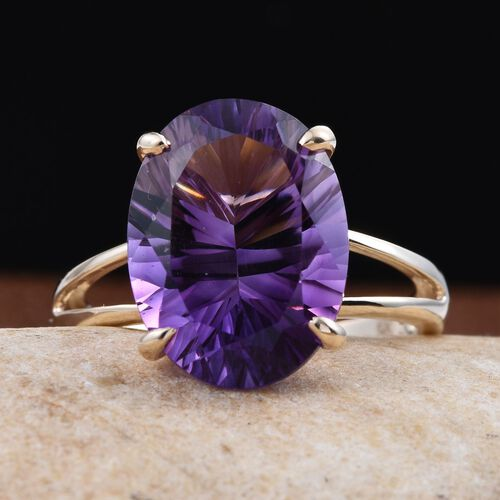 9K Y Gold AAA Natural Uruguay Amethyst (Ovl) Solitaire Ring 8.000 Ct.