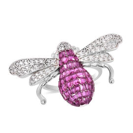 Lustro Stella - Simulated Ruby, Simulated Diamond and Simulated Emerald Bee Ring in Platinum Overlay