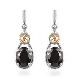 Elite Shungite (Ovl), Natural Cambodian Zircon Earrings (with Push Back) in Platinum and Yellow Gold