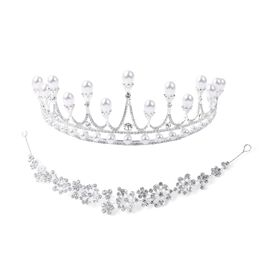 3 Piece Set - Simulated Pearl, White Austrian Crystal Crown, Hair Band and Hair Pins in Silver Tone