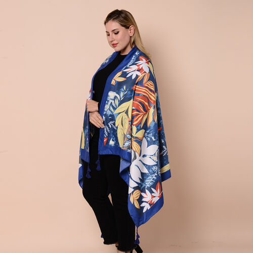 Close Out Fashion Scarf  / Sarong in Leaves Pattern (Size 180x90cm) with Tassels - Blue and Multi Colour