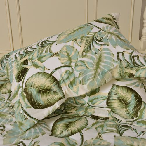 Green, Cream and Multi Colour Tropical Leaves Printed Microfiber Duvet Cover (Size 200X200 Cm), Fitted Sheet (Size 200X150 Cm) and Two Pillowcases (Size 70X50 Cm)