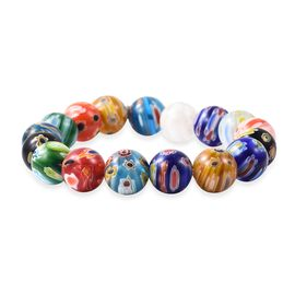 Millefiori Collection Multi Colour Murano Style Glass Stretchable Beaded Bracelet 7 Inch