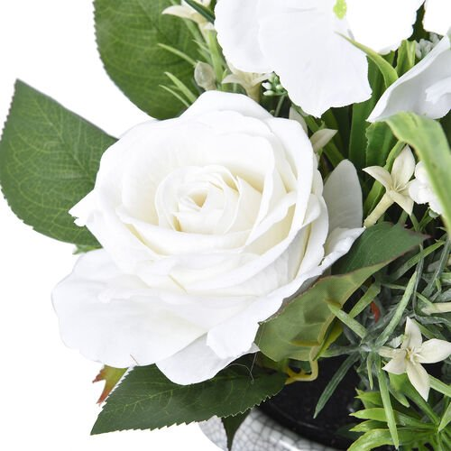 1 Head Hydrangea and 3 Heads Roses Decorative Flower Arrangement in Ceramic Pot (Height: 30Cm) - White