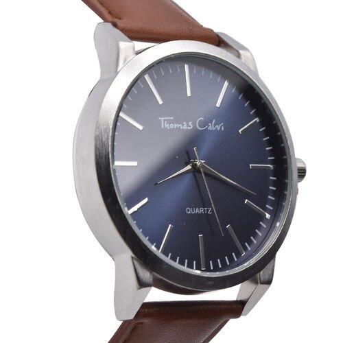 Thomas Calvi Silver Tone with Blue Dial Watch with Tan Strap