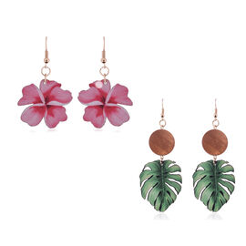 2 Piece Set - Flower and Leaf Design Wooden Fish Hook Earrings in Yellow Gold Tone