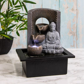 Lesser & Pavey Decorative Accents Buddha Water Fountain with LED Lighting in Bottom Layer (Size 20.5