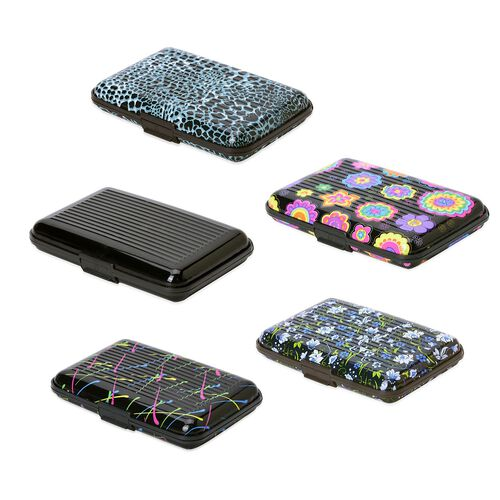 Set of 5 Leopard Print RFID Blocking Card Holder (Size 11x7.5 Cm)