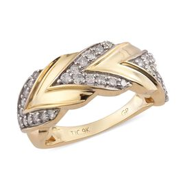 GP - 9K Yellow Gold SGL Certified Diamond (I3/G-H) and Blue Sapphire Ring 0.52 Ct, Gold wt 4.40 Gms