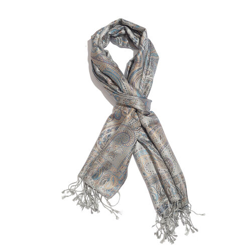 SILKMARK - 100% Superfine Silk Grey, Blue and Multi Colour Paisley Pattern Jacquard Jamawar Scarf with Tassels (Size 180X70 Cm)