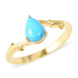 1.05 Ct Arizona Sleeping Beauty Turquoise Solitaire Ring in Gold Plated Sterling Silver