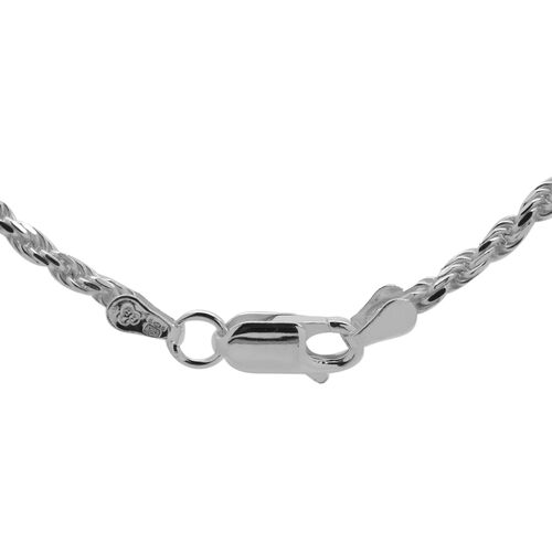 JCK Vegas Collection Rhodium Plated Sterling Silver Diamond Cut Rope Chain (Size 24), Silver wt 10.70 Gms.