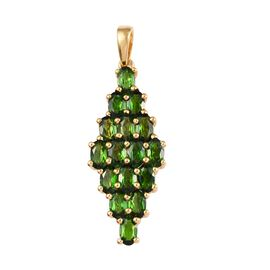 Russian Diopside (Ovl) Cluster Pendant in 14K Gold Overlay Sterling Silver 3.75 Ct.