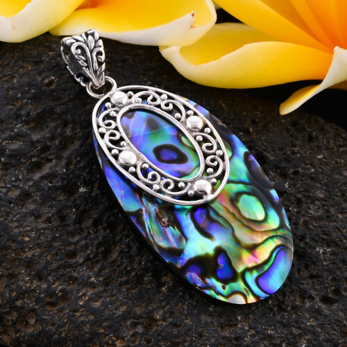 Royal Bali Collection - Abalone Shell Pendant in Sterling Silver