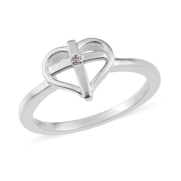 Diamond Heart with Cross Ring in Platinum Overlay Sterling Silver
