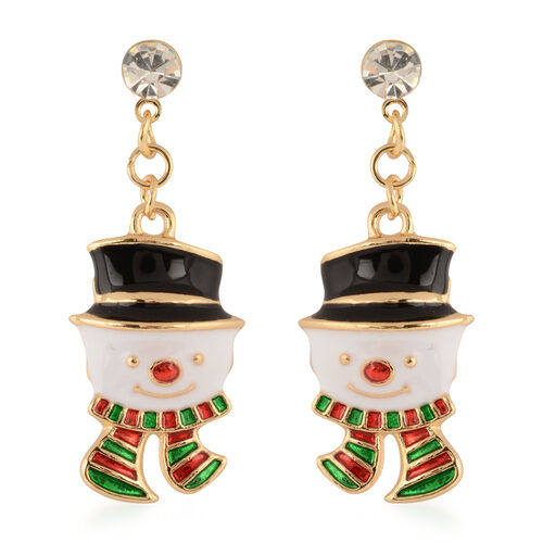 Set of 3 - White Austrian Crystal Christmas Theme Enamelled Earrings (with Push Back)