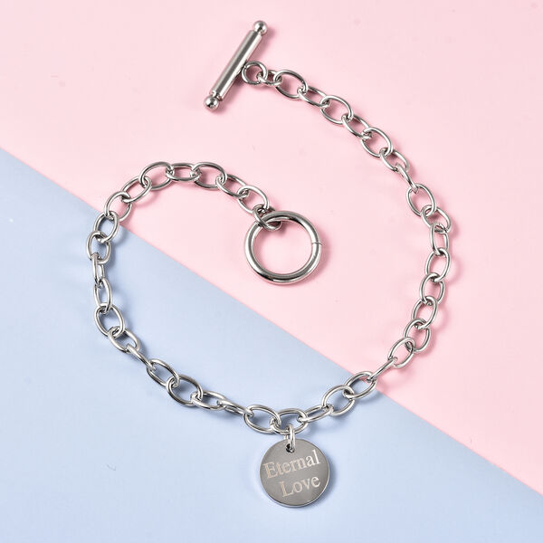 Personalised Engravable Single Disc Charm Bracelet, in Stainless Steel 8.5inches