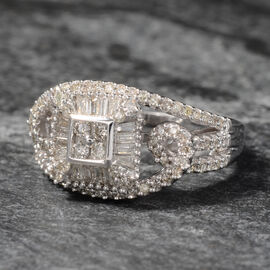 NY Close Out Deal 0.50 Carat Diamond Cluster Ring in 9K White Gold 4.2 Grams I1-I2 GH