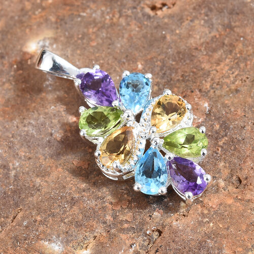 One Time Deal-Swiss Blue Topaz (Pear),  Amethyst, Citrine and Hebei Peridot Pendant in Sterling Silver 3.500 Ct.