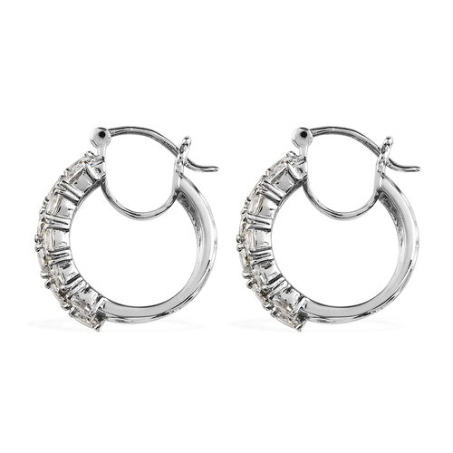 Simulated Diamond Hoop Earrings with Clasp in Stainless Steel