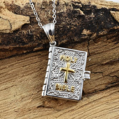 Platinum and Yellow Gold Overlay Sterling Silver Holy Bible Book Pendant with Psalm 23 Verses 1-3  With Chain (Size  20), Silver wt 8.32 Gms.