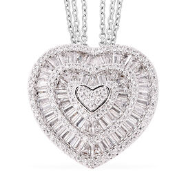 Simulated White Diamond Heart Pendant with Chain (Size 20 with 2 inch Extender) in Silver Tone