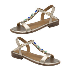 Ravel Kandos Leather Flat Sandals in Golden Colour