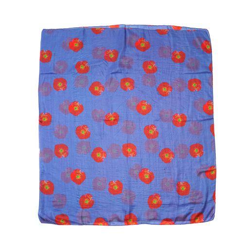 100% Mulberry Silk Red Poppy Print Scarf (180x100cm) - Blue