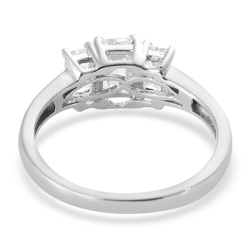 J Francis - Platinum Overlay Sterling Silver (Oct) Three Stone Ring Made With SWAROVSKI ZIRCONIA