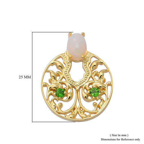 Ethiopian Welo Opal and  Russian Diopside Earrings (with Push Back) in Yellow Gold Overlay Sterling Silver