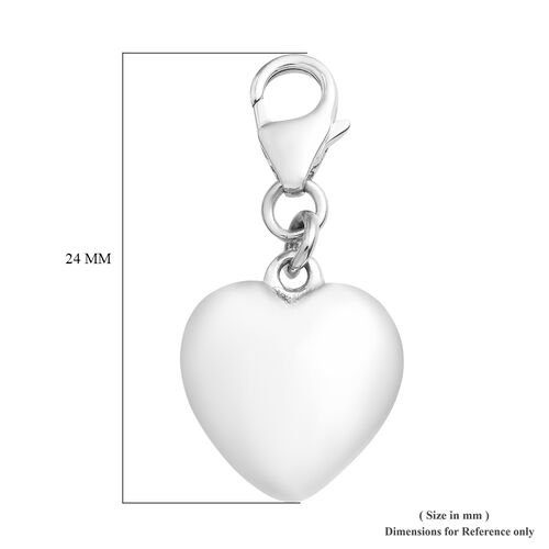 Platinum Overlay Sterling Silver Heart Charm