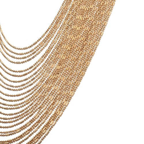 Designer Inspired Overlapping Multi Strand Waterfall Necklace (Size 18 with 4.5 Inch Extender) in Yellow Plated