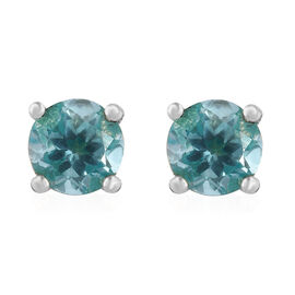 Paraibe Apatite (Rnd) Stud Earrings (with Push Back) in Platinum Overlay Sterling Silver 1.000 Ct.