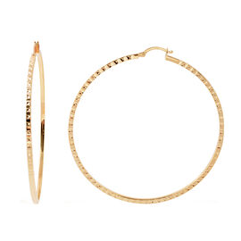 One Time Close Out Deal - 9K Yellow Gold Diamond Cut Hoop Earrings (with Clasp), Gold wt 5.60 Gms