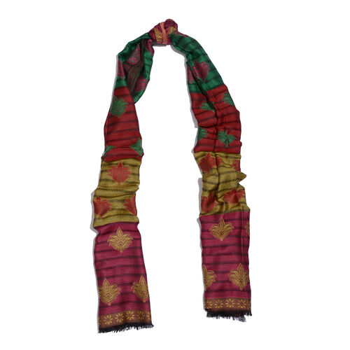 100% Modal Gold, Red and Multi Colour Jacquard Scarf (Size 190x70 Cm)