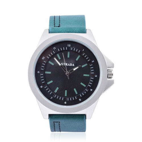 STRADA Japanese Movement Black Dial Water Resistant Watch in Silver Tone with Stainless Steel Back and Green Colour Strap