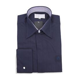 William Hunt - Saville Row Forward Point Collar Dark Blue Shirt (Size 15.5)