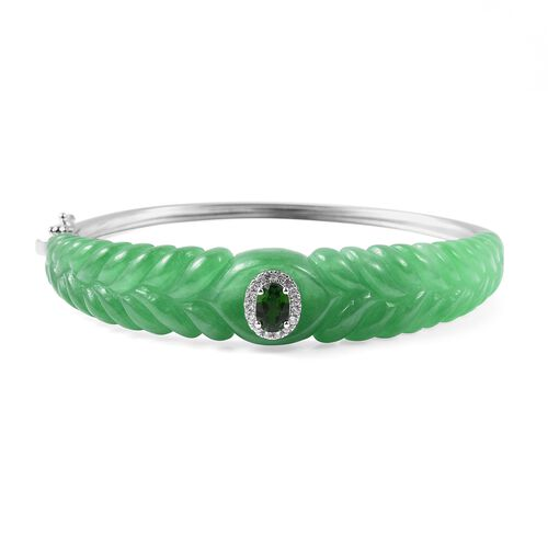 Carved Green Jade, Russian Diopside and Natural White Cambodian Zircon  Bangle (Size 7.75) in Rhodiu