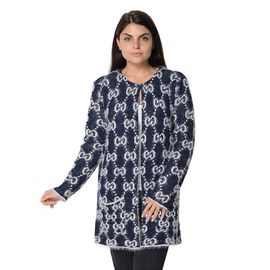 Soft and Smooth Winter Moroccan Pattern Sweater Coat with 2 Pockets (Size 53x81 Cm) - Navy and White